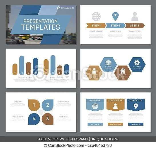 Set of blue and brown elements for multipurpose presentation