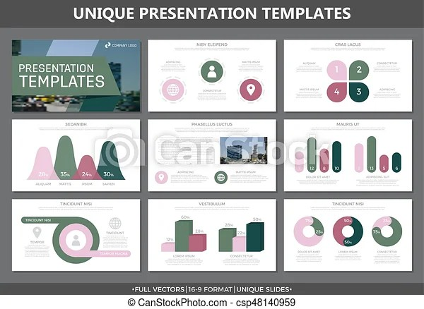 Set of colored elements for multipurpose presentation template