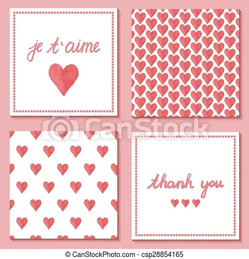 Set of cute postcards with hand drawn watercolor hearts and french