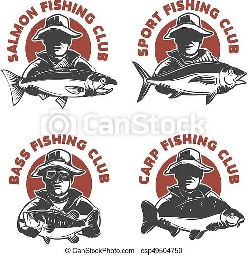 Set of fishing club labels templates fisherman silhouette
