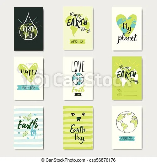 Set of greeting cards earth day eco event cute postcards with hand