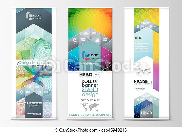 Set of roll up banner stands, geometric flat style templates