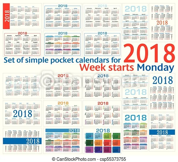 Set of simple pocket calendars for 2018 (two thousand eighteen
