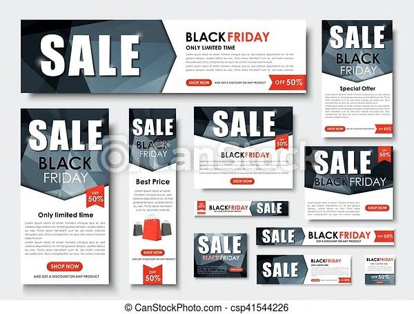 Set of web banner for black friday sales, standard sizes Set web