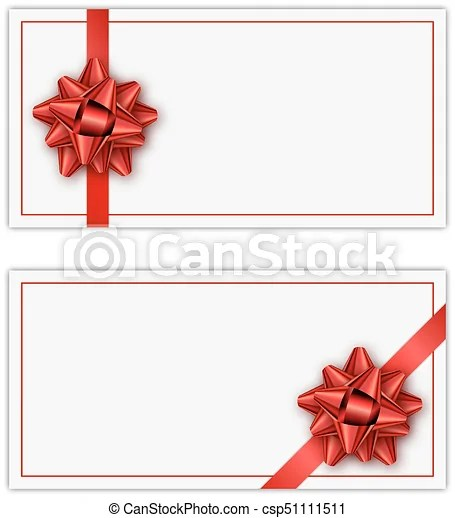 Set of white holiday gift card with red ribbon and bow vector
