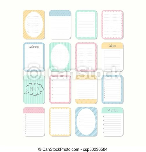 Sheets of paper template notepad collection of various note papers - notepad paper template