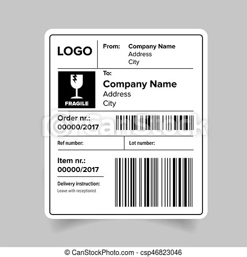 EPS Vector of Shipping label template - Shipping label sticker - ingredient label template