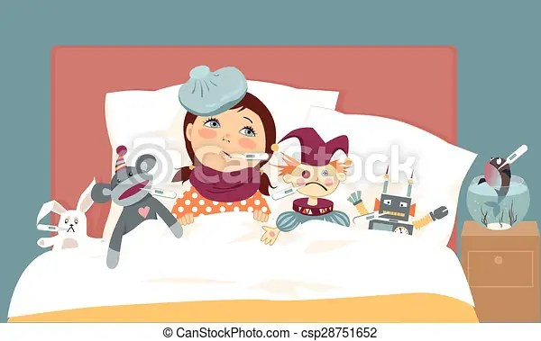 Sick Kid Cute Little Girl Lying In Bed With Her Toys All