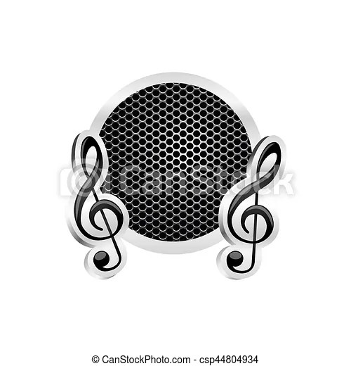 Sign music treble clef icon relief with metallic frame with grill