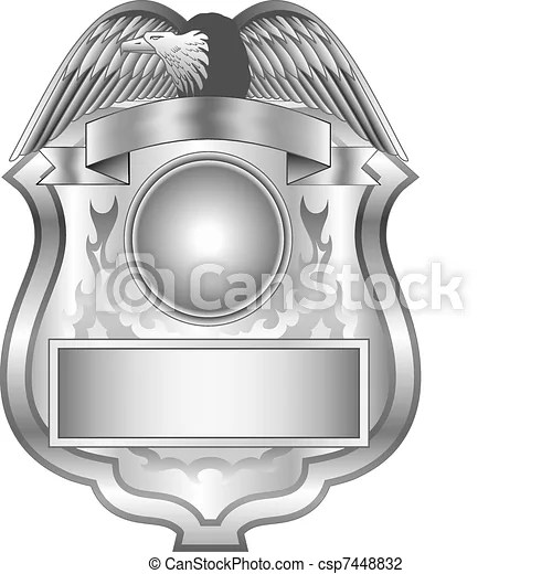 Silver badge Illustration of a silver shield badge