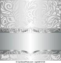Silver shiny floral vintage pattern wallpaper background ...