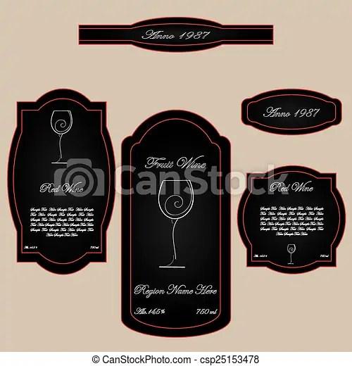 Simple vintage wine label black red white vectors illustration