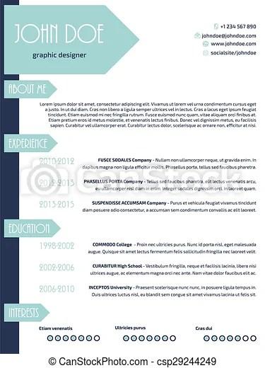 Simplistic modern resume curriculum vitae cv template design eps