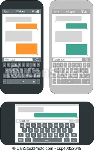 Smartphone with blank text message bubbles and keyboard eps - cool text message art