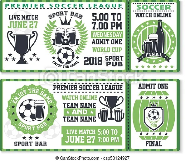 Soccer or football sport game ticket template Soccer or football