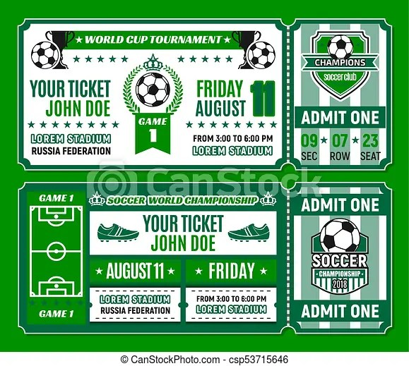 Soccer ticket template of football cup tournament Soccer ticket