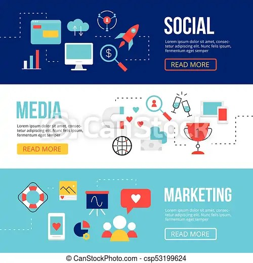Social media marketing web banners design templates smm icons