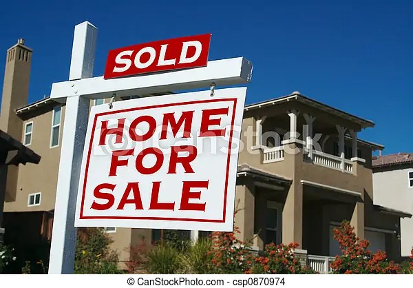 Sold home for sale sign in front of beautiful new homes