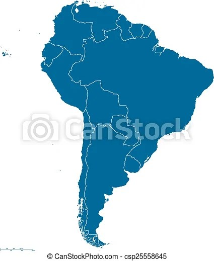 South america map outline Political map of south america with all