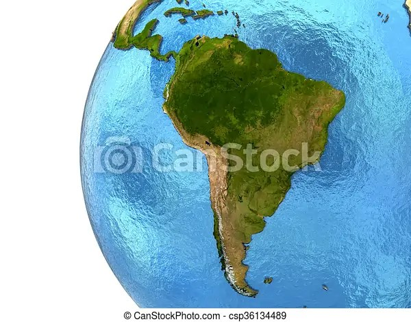 South american continent on earth South america on detailed model