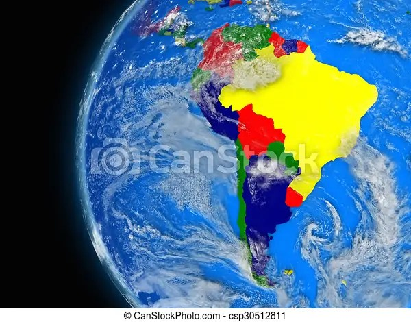 Illustration of south american continent on political globe with