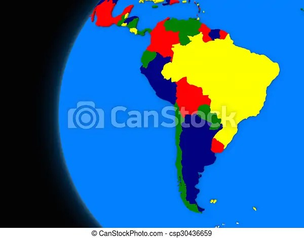 South american continent on political earth Illustration of south