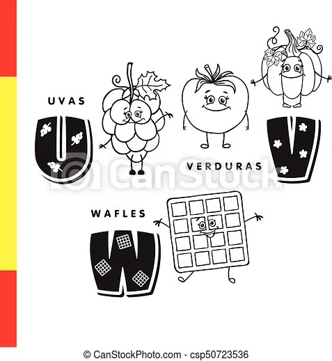 Spanish alphabet grapes, vegetables, waffles vector letters and - alphabet in spanish