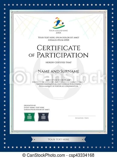 Sport theme certificate of participation template for vectors - certificate of participation template