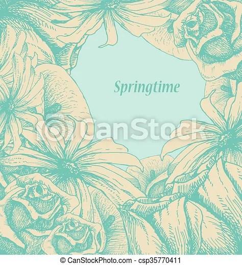 Spring flower background hand drawn vector illustration
