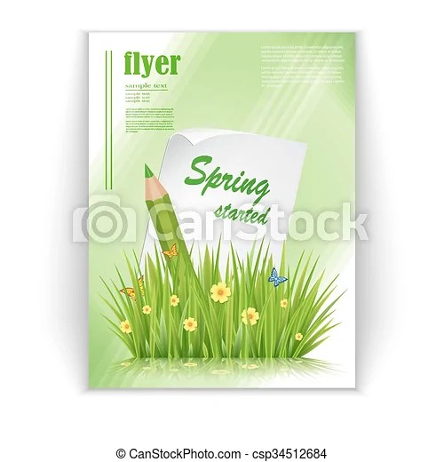 Spring flyer Fresh spring green grass leaves frame template with - spring flyer template