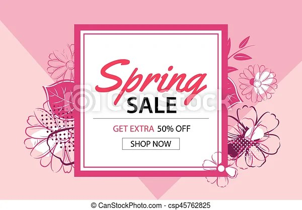 Spring sale poster template with flower backgroundcan be vector - for sale poster template