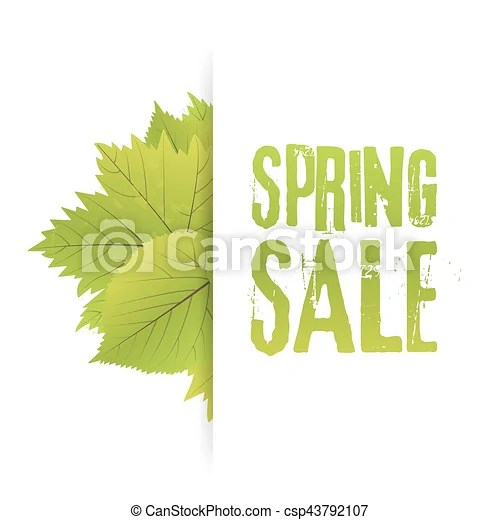 Spring sale poster with green leaf vector banner template illustration