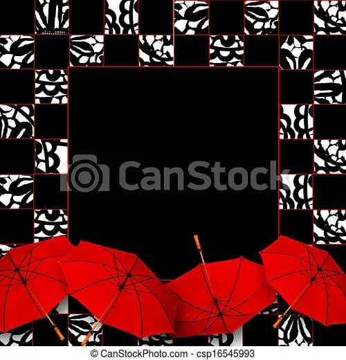 Square fancy background w/umbrellas Umbrellas in the front lower
