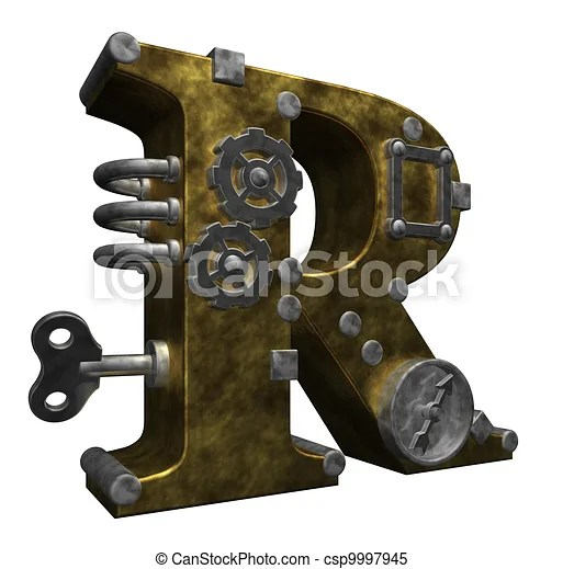 R Letter 3d Wallpaper Steampunk Letter R On White Background 3d Illustration
