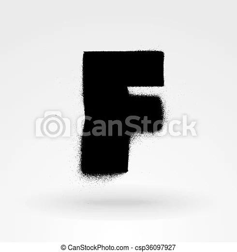 Stencil spray paint font detailed vector alphabet