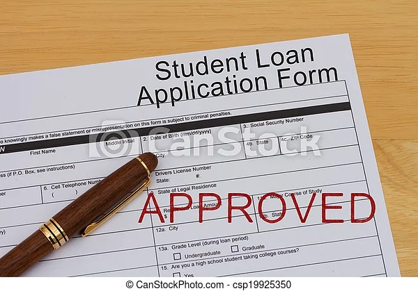 Student loan application form with a pen and approved stamp on a