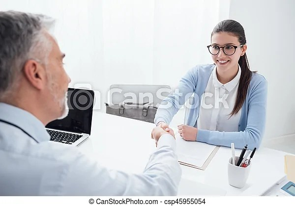 Successful job interview Young smart woman having a successful job