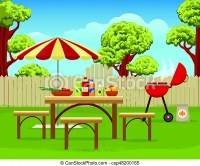Summer backyard fun bbq or grilling barbecue party cartoon ...