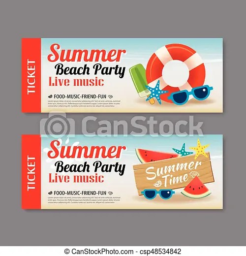 Summer beach party invitation ticket template background eps vector - party ticket template