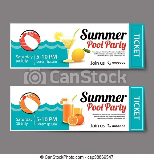 Summer pool party ticket template eps vector - Search Clip Art - party ticket template