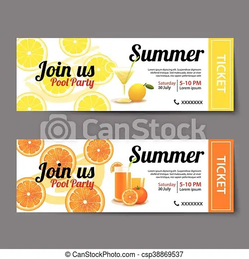 Summer pool party ticket template vectors - Search Clip Art - party ticket template