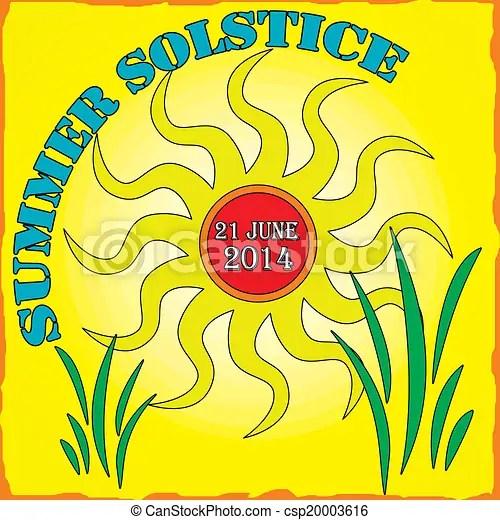 Summer solstice vector illustration Summer solstice on yellow theme