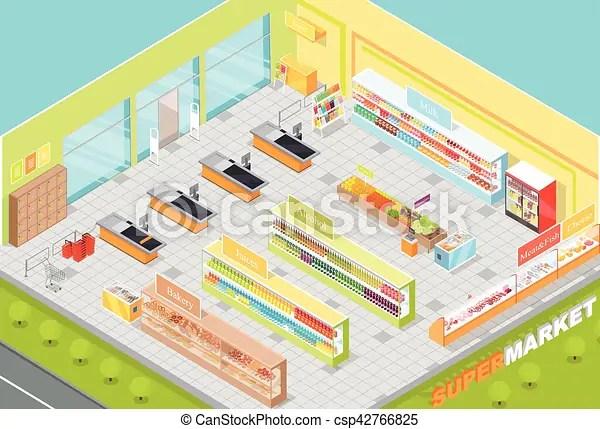 Supermarket Departments Interior 3d Isometric Shop