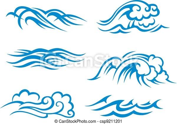 Surf waves Sea and ocean surf waves set for design