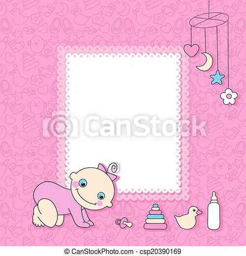 Sweet baby girl announcement card style cartoon vector illustration