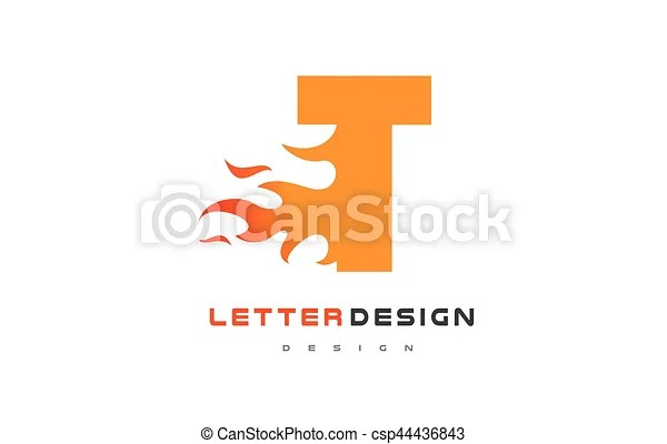 T letter flame logo design fire logo lettering concept T letter - flame logo