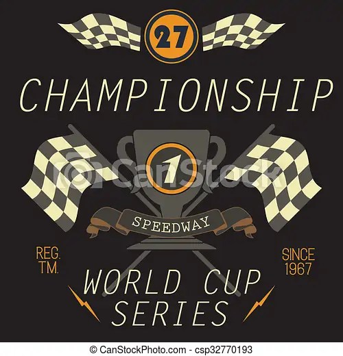 T-shirt printing design, typography graphics, speedway championship