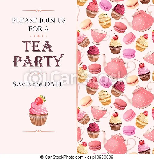 Tea party invitation Vector invitation to tea party with vector