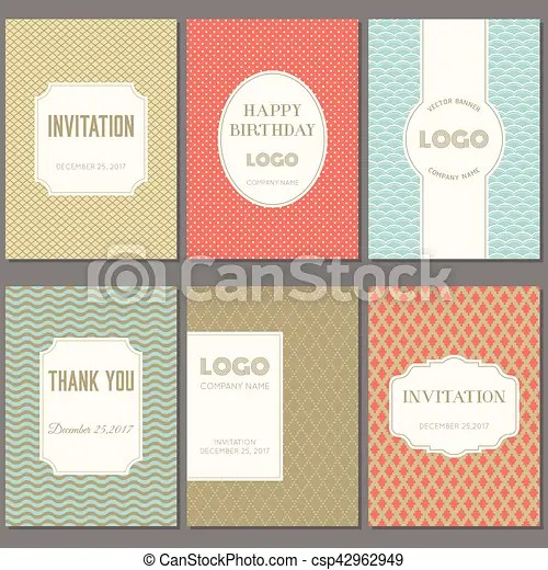Template collection in vintage pattern with badges, labels and retro - retro brochure template