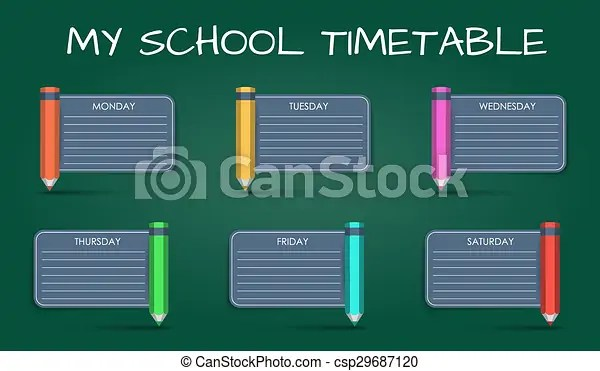 Template daily school timetable pencil and ribbon from it vector